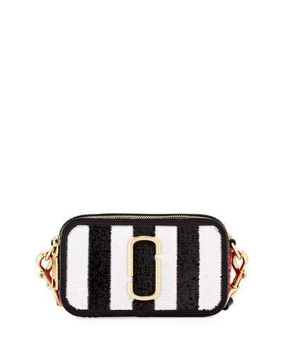 Marc Jacobs Marc Jacobs Sequin Stripes Snapshot Crossbody Bag, Black/Multi
