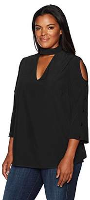 Love Scarlett Women's Plus Size Cold Shoulder Top 3/4 Vneck Choker and Button Sleeves