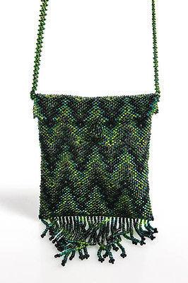 Designer Green Beaded Fringe Trim Shoulder Handbag