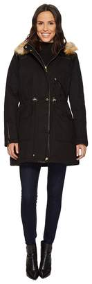 French Connection Anorak Faux Fur Hood and Drawstring Waist Women's Coat