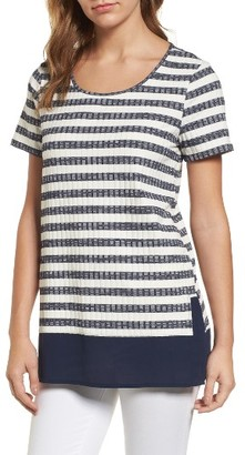 Women's Chaus Jasper Stripe Mixed Media Top $69 thestylecure.com