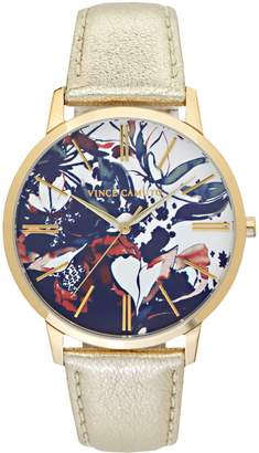 Vince Camuto Abstract Floral-print Leather-band Watch