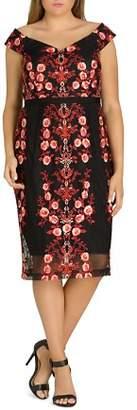 City Chic Plus Sweet Lolita Embroidered Mesh Midi Dress