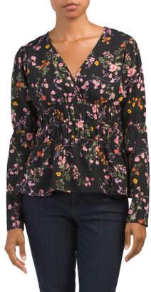 Elastic Floral V-neck Blouse