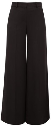 Bella Freud Bianca Wide Leg Wool Twill Trousers - Womens - Black