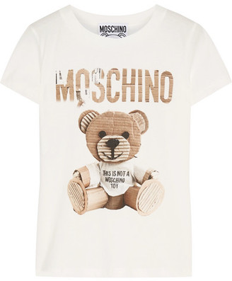 Moschino - Printed Cotton-jersey T-shirt - Ivory $225 thestylecure.com