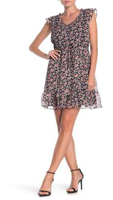 Collective Concepts Ruffle Cap Sleeve Floral Mini Dress