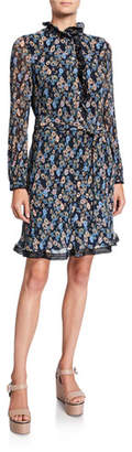 Tory Burch Deneuve Floral Ruffle-Neck Long-Sleeve Plisse Dress