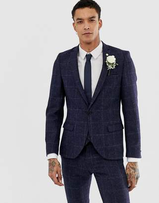 Twisted Tailor woven in england super skinny suit jacket in navy tweed check