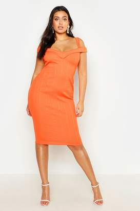 boohoo Plus Double Strap Bardot Bandage Midi Dress
