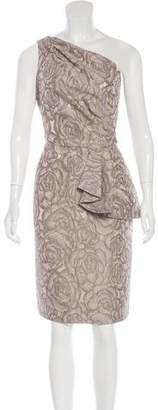 Carmen Marc Valvo Jacquard One-Shoulder Dress $225 thestylecure.com