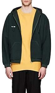 Vetements Men's Logo Cotton-Blend Fleece Inside-Out Hoodie - Dk. Green