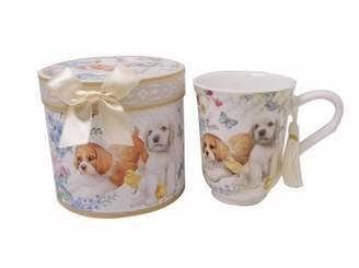 Elegantoss 11.2oz Coffee / Tea Mug Superior Bone China Royal cup in a reusable handmade gift box with ribbon, Tassel on Handle, in cute puppy design