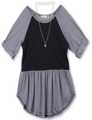 Lots of Love by Speechless Lace and Stripe Combo Roll Sleeve Top with Necklace (Big Girls)