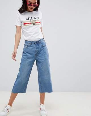 boohoo Wide Leg Crop Jeans
