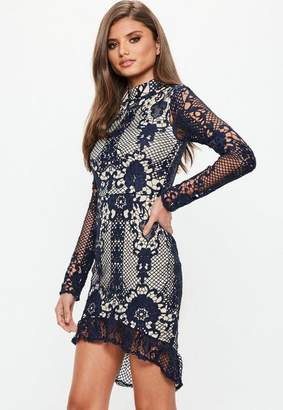 Missguided Navy Lace Frill Hem Long Sleeve Midi Dress