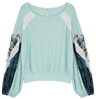 Free People Blue Lace-trimmed Fine