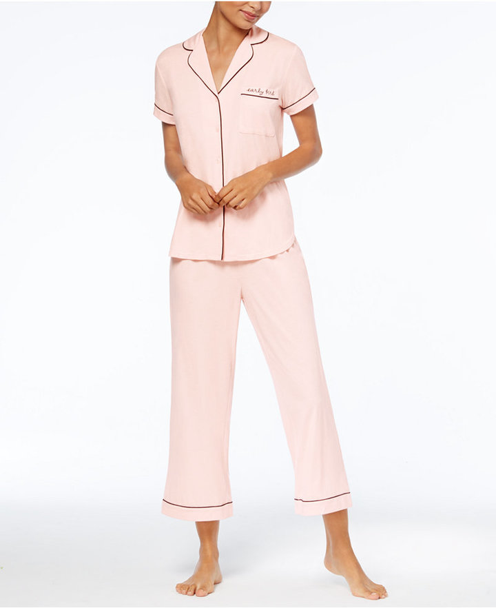 kate spade new york Embroidered-Pocket Top & Capri Pants Knit Pajama Set