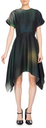 Kenzo Soft Flare Dress Short Sleeve Dress, Olive