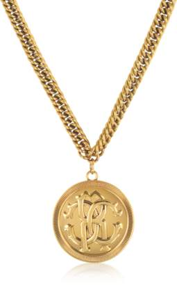 Roberto Cavalli Antique Goldtone Metal Large Logo Coin Pendant Necklace