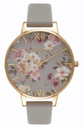 Women's Olivia Burton Flower Show Leather Strap Watch, 38Mm $125 thestylecure.com