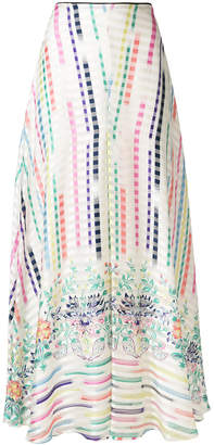 Vilshenko printed maxi a-line skirt