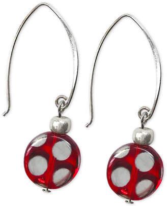 Jody Coyote Polka Dot Round Glass Bead Drop Earrings in Sterling Silver & Silver-Plate
