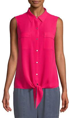 Jones New York Knot Sleeveless Button-Down Shirt
