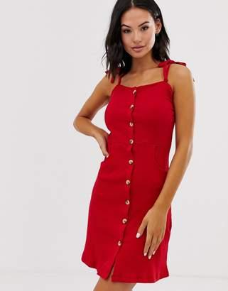 Brave Soul joanna button through mini dress