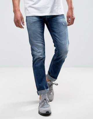 Replay Grover Straight Jean Dark wash Rips
