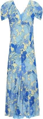 Roberto Cavalli Fluted Floral-print Silk Crepe De Chine Midi Dress