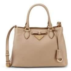 Prada Bow Leather Logo Satchel