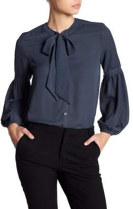 Harve Benard Georgette Long Sleeve Tie Blouse