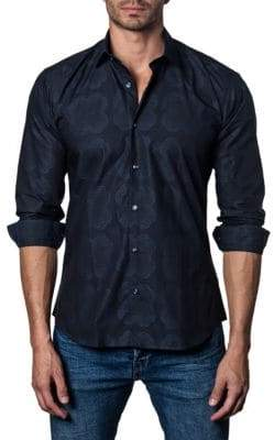 Jared Lang Floral Cotton Button-Down Shirt