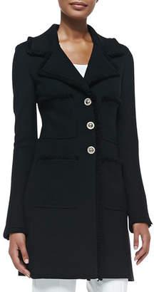 St. John Milano Pique Knit Topper Jacket, Caviar