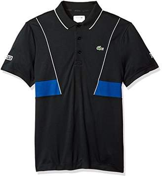 Lacoste Men's Short Sleeve Pique Ultra Dry with Contrast Broken Yoke and Piping Polo