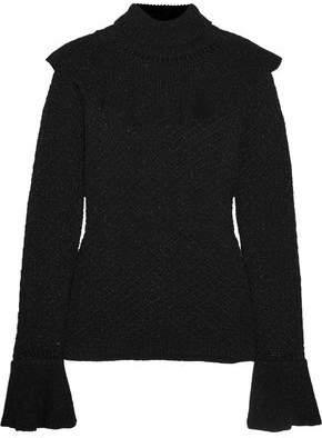 Co Ruffled Metallic Knitted Turtleneck Sweater