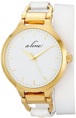 A Line A _ LINE Women 's al-80027-yg-02-wht GeminiステンレススチールWatch with Whiteレザーバンド