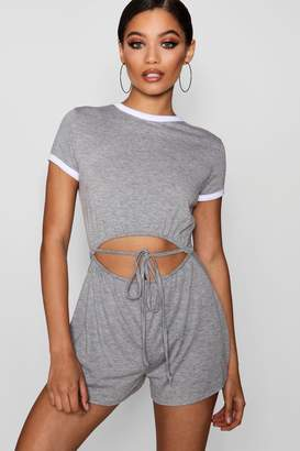 boohoo Contrast Trim Cut Front Playsuit