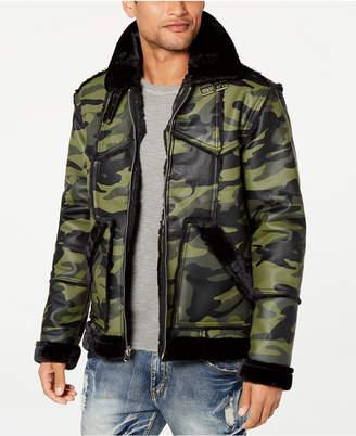 Reason Men's Camo Paneled Faux-Fur Trimmed Coat