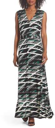 Leota Nicole Print V-Neck Maxi Dress