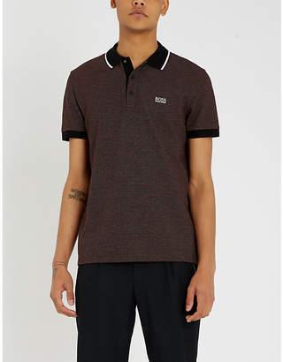 BOSS Contrast collar cotton-piqué polo shirt