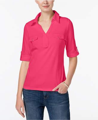 Karen Scott Cotton Roll-Tab-Sleeve Shirt, Created for Macy's
