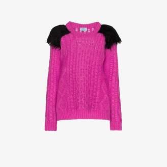 Prada Faux fur shoulder detail sweater