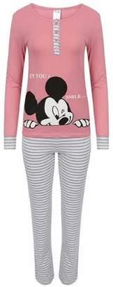 Crazy Girls Womens Loungewear Set Snoopy Mickey Mouse Print Pyjama Top Cotton PJ's Nightwear