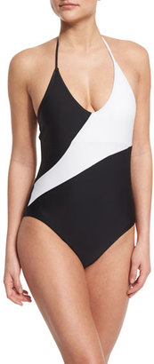 Diane von Furstenberg Newport Colorblock Halter One-Piece Swimsuit $228 thestylecure.com