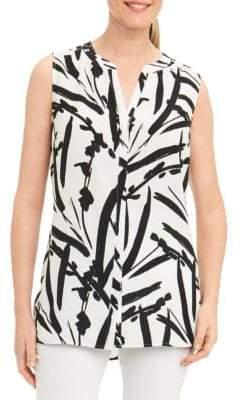 Foxcroft Abstract-Print Sleeveless Shirt