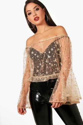 boohoo Ava Off The Shoulder Glitter & Pearl Embellished Top