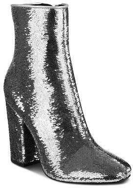 KENDALL + KYLIE Women's Haedyn Sequined High Block Heel Booties