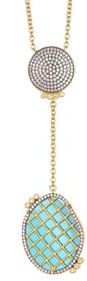 Freida Rothman 14K Gold Plated Sterling Silver Baroque Blues Drop Pendant Necklace